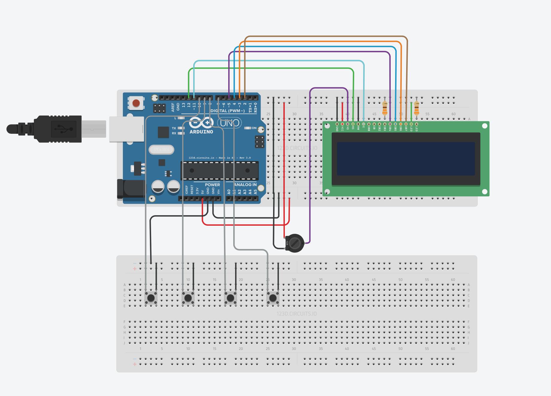 pulsanti Arduino lcd 16x2