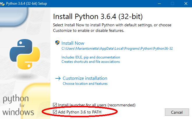 Installazione Windows Python - Add Python PATH