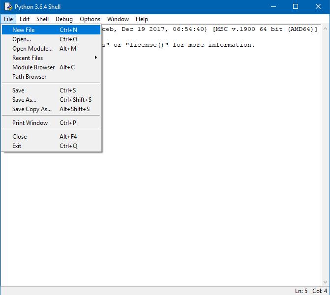 creazione file sorgente python