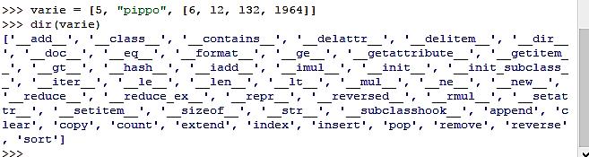 metodi per le liste - python