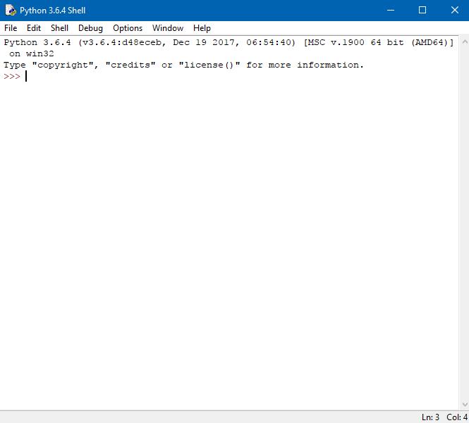 schermata iniziale di IDLE