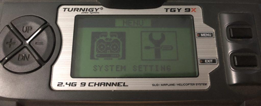 Menu System turnigy 9x