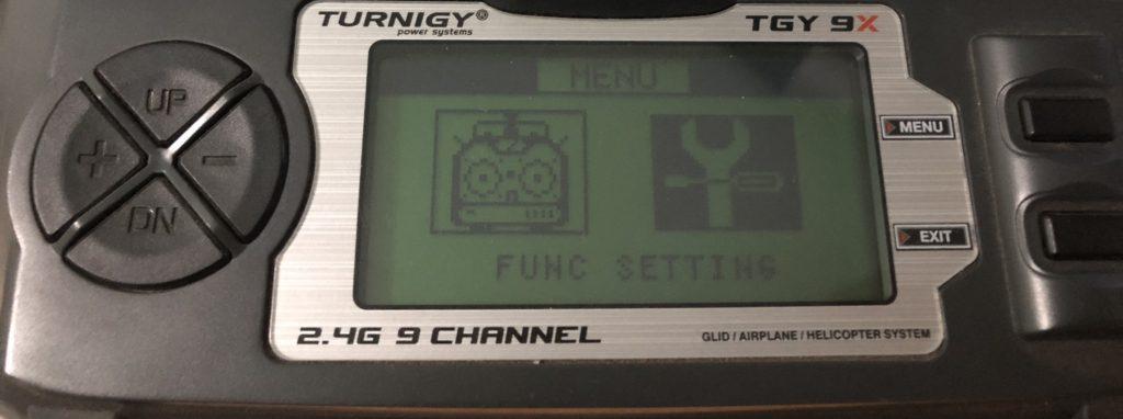 Impostazione della funzione Turnigy 9x