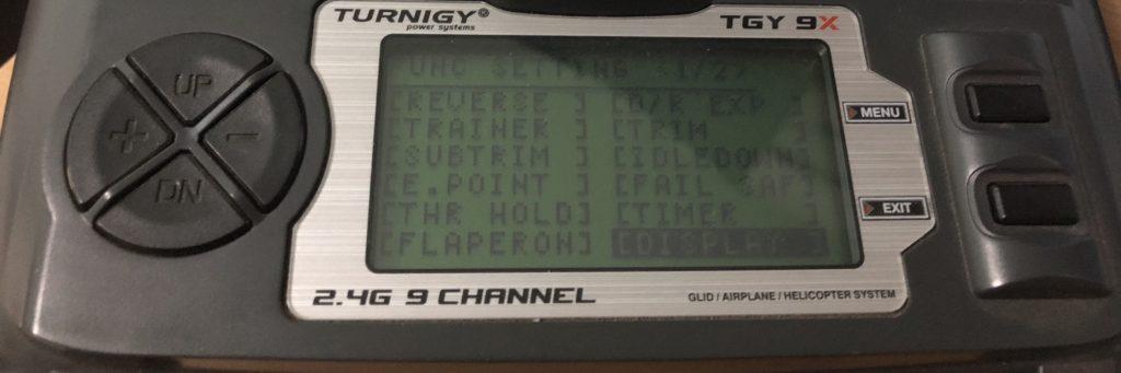 Impostazione display turnigy 9x