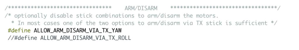 "ARM / DISARM: riga ""ALLOW_ARM_DISARM_VIA_TX_YAW"