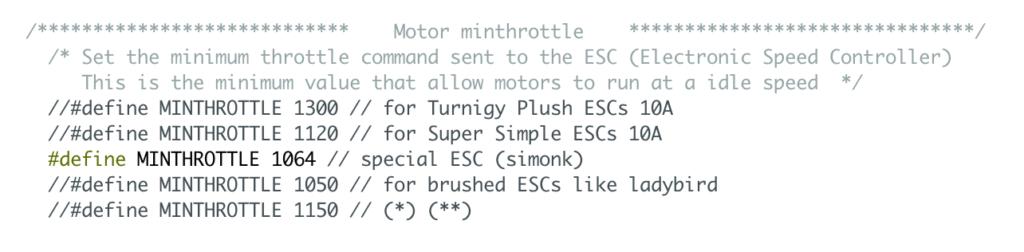 """Motor minthrottle - riga """"MINTHROTTLE 1064"""""""