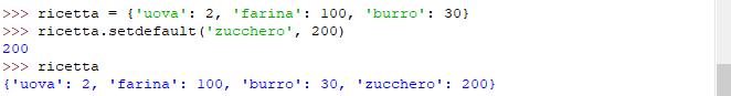 "Metodo ""setdefault"" dizionario - Python"