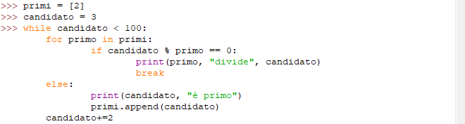 Esempio programma while con else - Python