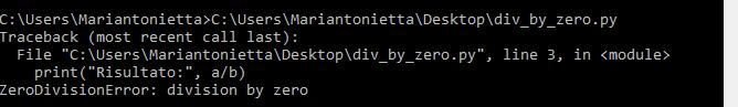 Output script con eccezione