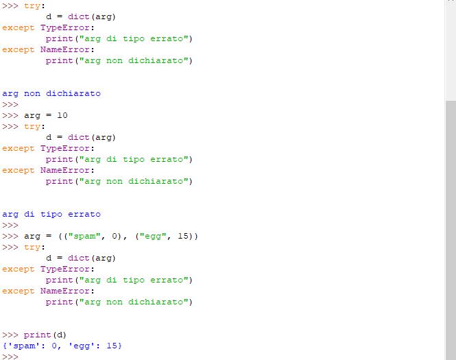 Blocco try contenente due blocchi except - Python