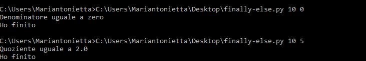 Output script istruzioni finally-else