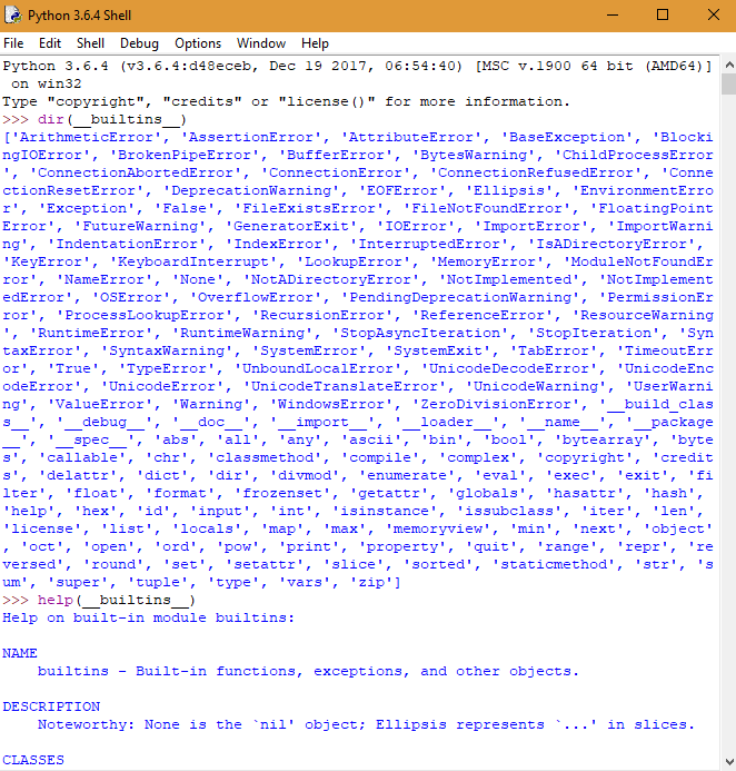 Funzioni predefinite in Python: modulo __builtins__