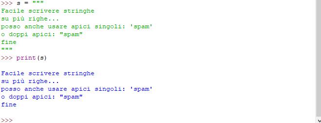 Stringhe su più righe - Python