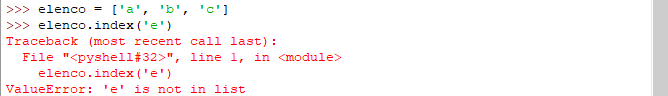 metodo index eccezione - python