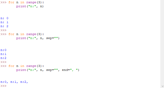 Esempio utilizzo parametri sep e end - Python