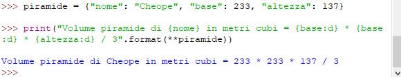 Parametro dizionario - metodo format in Python