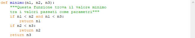 Funzione con più parametri che restituisce il valore minimo