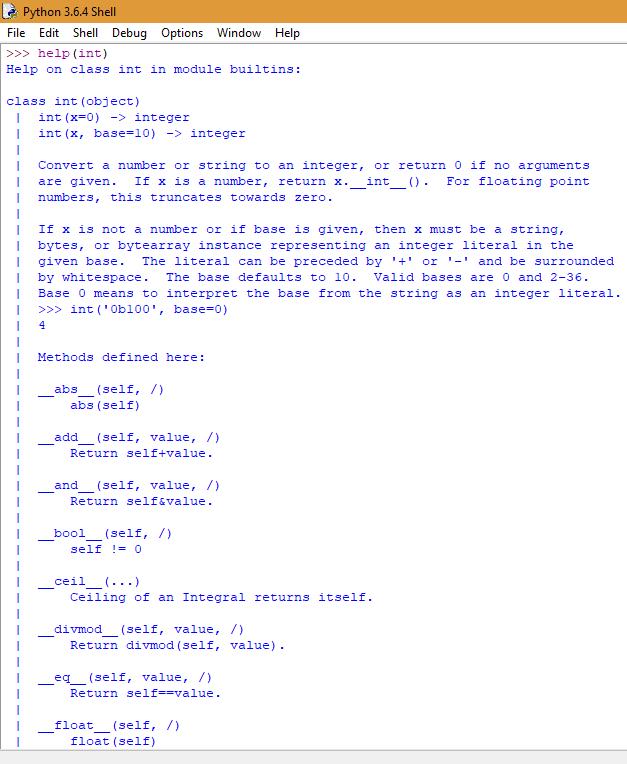 La stringa __doc__ della funzione int