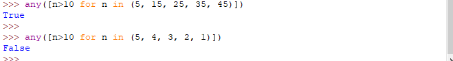 Funzione any - Python