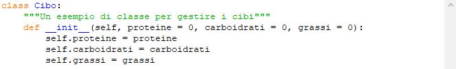 Esempio classi in Python: classe Cibo