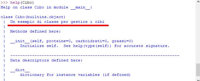 Stringa di documentazione nella funzione help - Classe Cibo