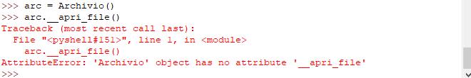 esempio utilizzo metodo privato - Python