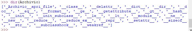 funzione dir su classe con metodo privato - Python