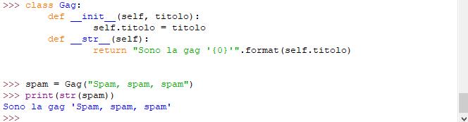 Metodo speciale __str__ per le classi