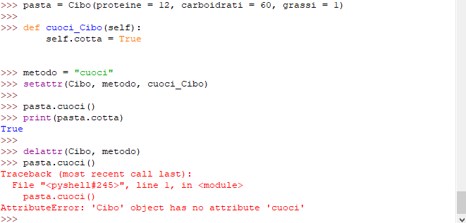 Funzioni setattr e delattr per le classi in Python