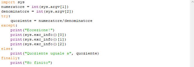 Script funzione exc_info